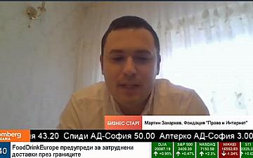 "Martin Zahariev: ""Coronavirus speeds up digitalization"" in an Interview for Bloomberg TV"